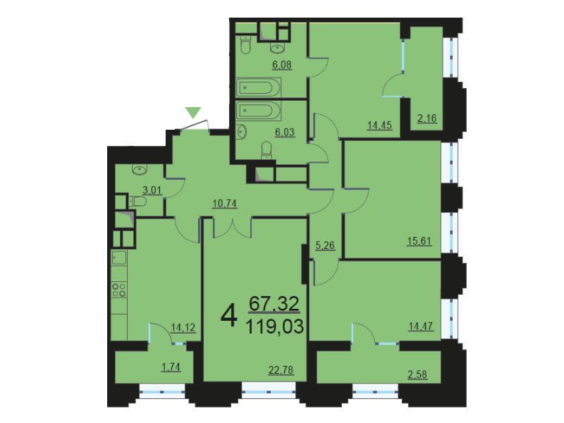 Москва, 4-х комнатная квартира, ул. Берзарина д.28, 23807547 руб.