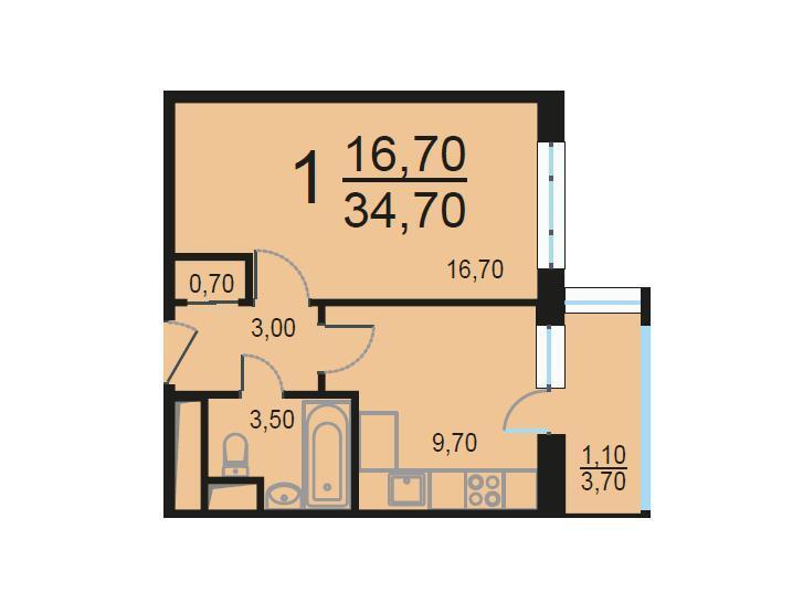 Москва, 1-но комнатная квартира, Внутренний проезд д.8с1, 7117595 руб.