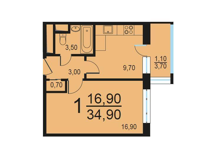 Москва, 1-но комнатная квартира, Внутренний проезд д.8с1, 7191459 руб.