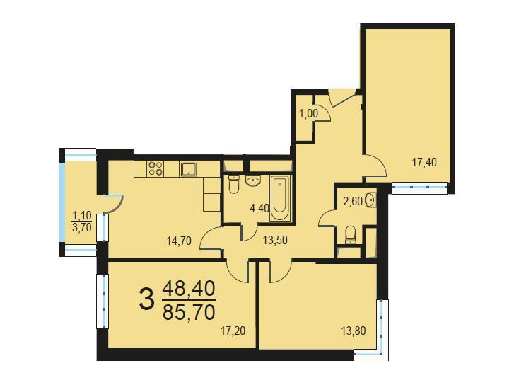 Москва, 3-х комнатная квартира, Внутренний проезд д.8с1, 17240783 руб.