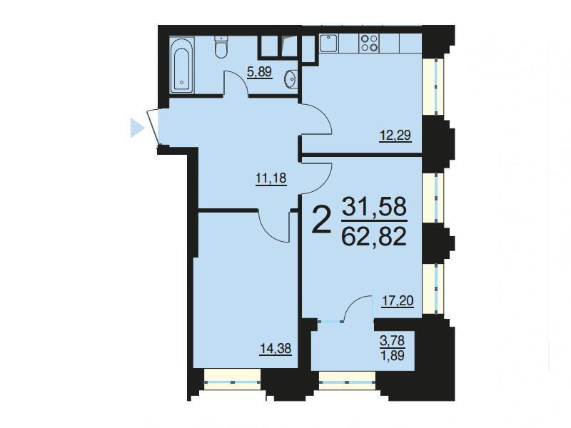 Москва, 2-х комнатная квартира, ул. Берзарина д.28с3, 12214721 руб.