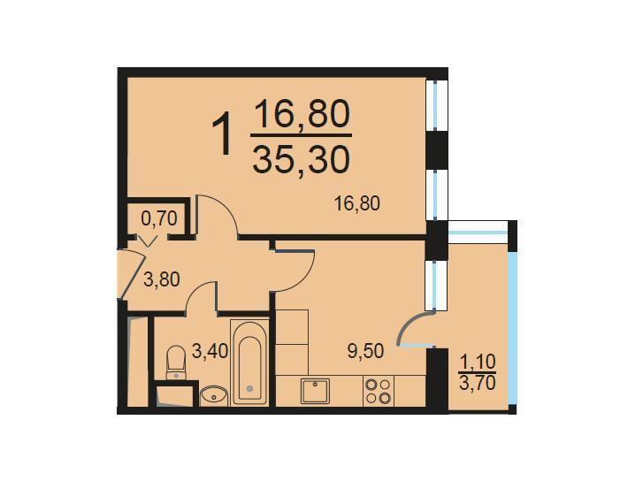 Москва, 1-но комнатная квартира, Внутренний проезд д.8с2, 7059294 руб.