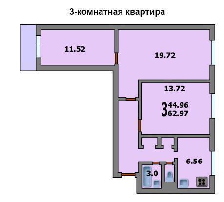 Москва, 3-х комнатная квартира, ул. Широкая д.2 к1, 50000 руб.