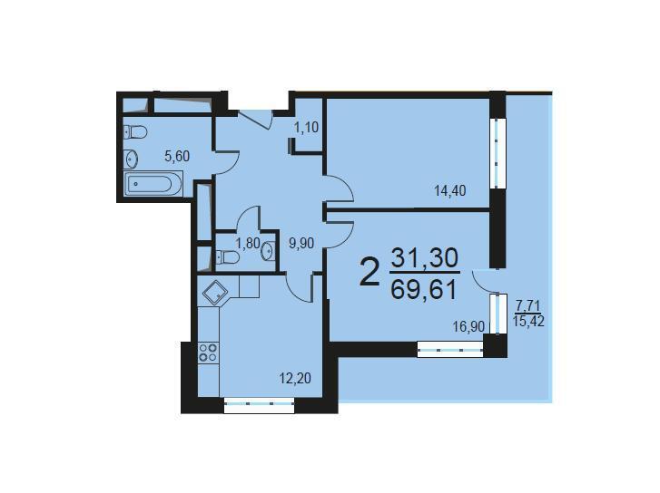 Москва, 2-х комнатная квартира, Внутренний проезд д.8с3, 13716511 руб.