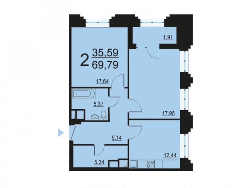 Москва, 2-х комнатная квартира, ул. Берзарина д.28с3, 13262543 руб.