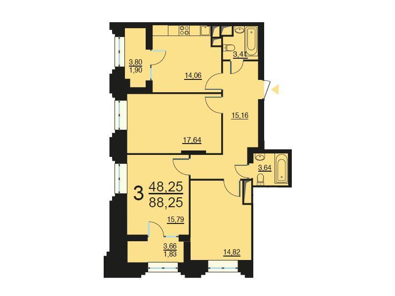 Москва, 3-х комнатная квартира, ул. Берзарина д.28, 17479854 руб.