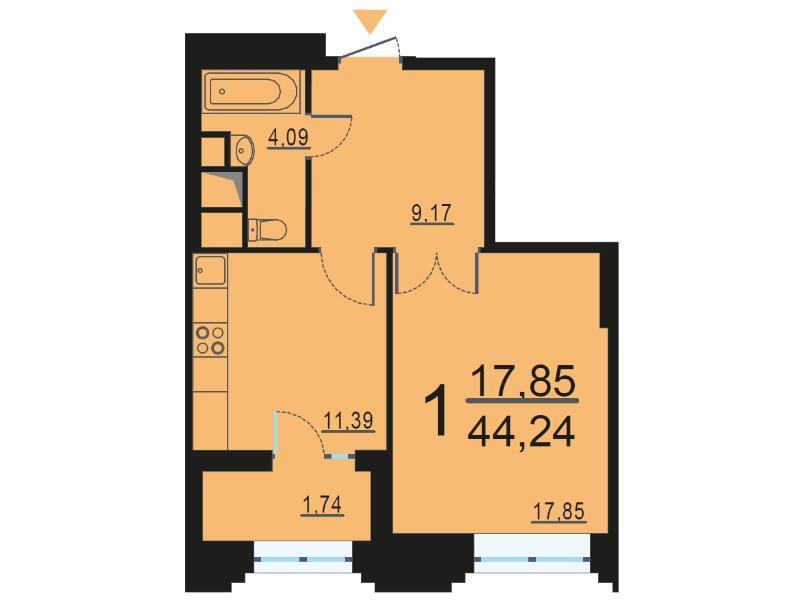 Москва, 1-но комнатная квартира, ул. Берзарина д.28, 8484701 руб.