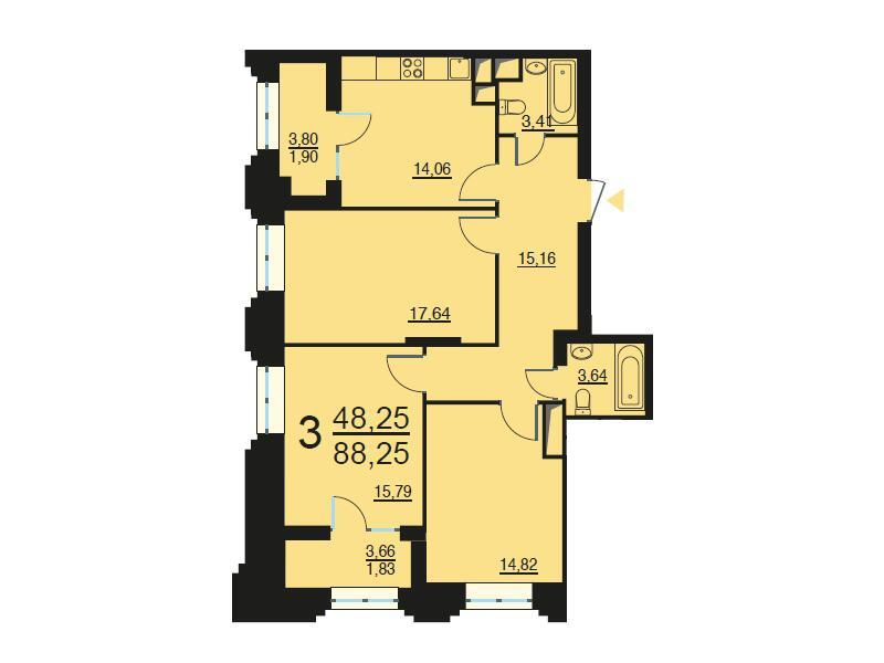 Москва, 3-х комнатная квартира, ул. Берзарина д.28, 17783434 руб.
