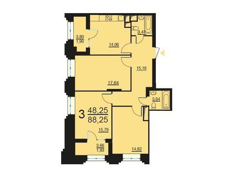 Москва, 3-х комнатная квартира, ул. Берзарина д.28, 16672014 руб.