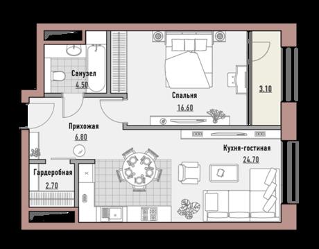 """1-комнатная квартира, в Элитный дом """"РЕНОМЭ"""""""