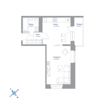 Томилино, 1-но комнатная квартира, ЖК Томилино д., 2433555 руб.