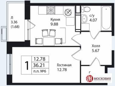 1 к.кв. 36.2м2, Новая Москва, Калужское шоссе