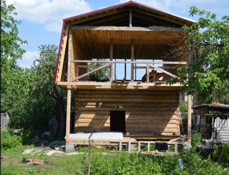 Двухэтажный сруб 6х9 м. на участке 5,5 сот в СНТ Заря-Рус