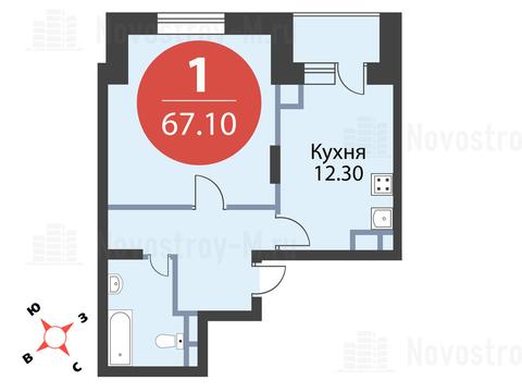 Павловская Слобода, 1-но комнатная квартира, ул. Красная д.д. 9, корп. 43, 6441600 руб.