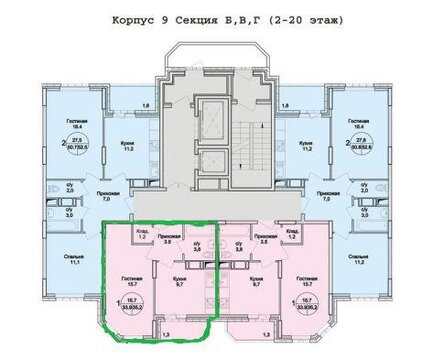 "1-комнатная квартира, 35 кв.м., в ЖК ""Раменский"""