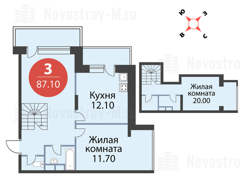 """3-комнатная квартира, 87 кв.м., в ЖК """"Сказка"""""""