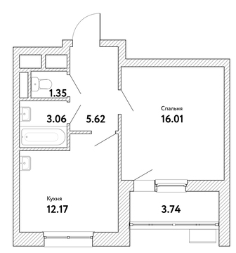 """1-комнатная квартира, 40 кв.м., в ЖК """"Пикассо"""""""