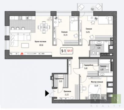 """4-комнатная квартира, 121 кв.м., в ЖК """"Парк Мира"""""""