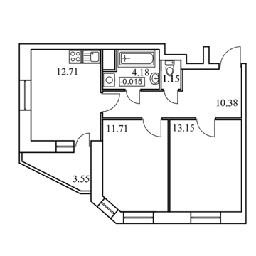 2-х комнатная квартира 56,83 кв.м. в ЖК Скрылья. Специальная цена!