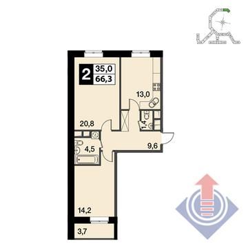 """2-комнатная квартира, 66 кв.м., в ЖК """"UP!КВАРТАЛ""""Римский"""""""