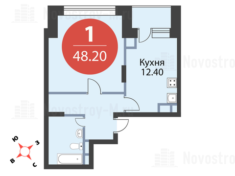 Павловская Слобода, 1-но комнатная квартира, ул. Красная д.д. 9, корп. 56, 4304260 руб.