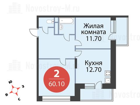 Павловская Слобода, 2-х комнатная квартира, ул. Красная д.д. 9, корп. 56, 5529200 руб.