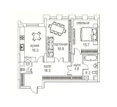 Двухкомнатная квартира в Алых Парусах