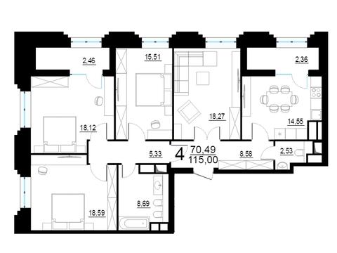 """4-комнатная квартира, 114 кв.м., в ЖК """"Родной город. Октябрьское поле"""""""