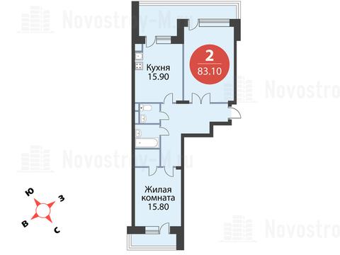 Павловская Слобода, 2-х комнатная квартира, ул. Красная д.д. 9, корп. 55, 6554928 руб.
