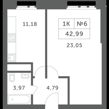 """1-комнатная квартира, 43 кв.м., в ЖК """"Спутник"""" (д. Раздоры)"""