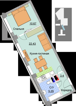 1-комнатная квартира в доме бизнес-класса