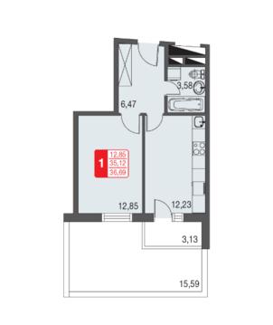 Москва, 1-но комнатная квартира, ул. Живописная д.12, 2343443 руб.