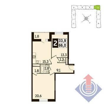 2-комнатная квартира, 66 кв.м., в ЖК Up! Квартал Новое Тушино