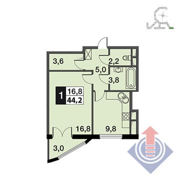 """1-комнатная квартира, 44 кв.м., в ЖК """"UP!КВАРТАЛ""""Римский"""""""