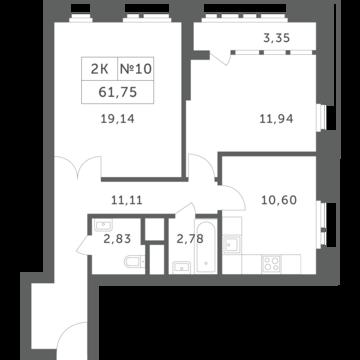 """2-комнатная квартира, 62 кв.м., в ЖК """"Спутник"""" (д. Раздоры)"""