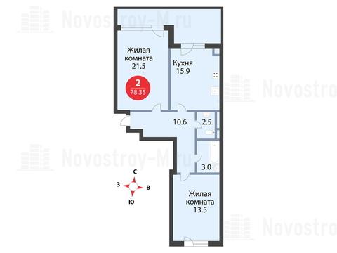 Павловская Слобода, 2-х комнатная квартира, ул. Красная д.д. 9, корп. 51, 8234585 руб.