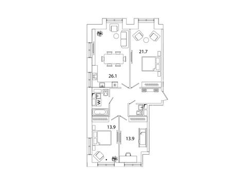 """Продается 3-к. квартира, 92,7 кв.м. в ЖК """"sreda"""""""