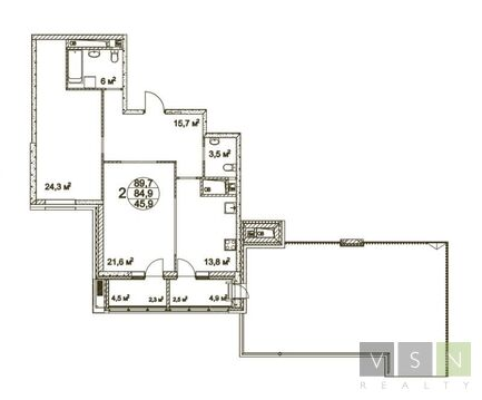 """2-комнатная квартира, 90 кв.м., в ЖК """"Квартал 38А"""""""