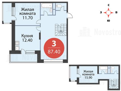 Павловская Слобода, 3-х комнатная квартира, ул. Красная д.д. 9, корп. 39, 10758940 руб.