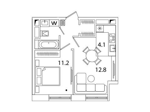 """Продается 1-к. квартира, 36,8 кв.м. в ЖК """"sreda"""""""