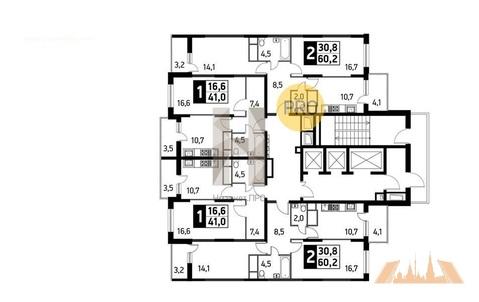 2-комнатная квартира, 60 кв.м.