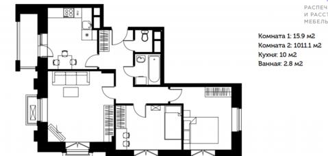 3-к квартира 60м2 в 6 км от МКАД, г.Видное