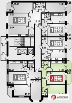 """2-комнатная квартира, 65 кв.м., в ЖК """"Парковый"""" г. Подольск"""
