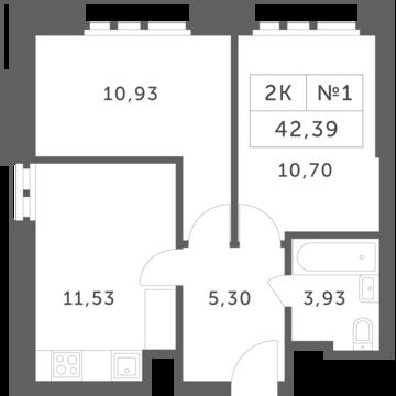 """2-комнатная квартира, 42 кв.м., в ЖК """"Спутник"""" (д. Раздоры)"""