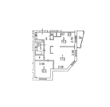Квартира 55.8 м, 3-й Самотечный переулок, 16