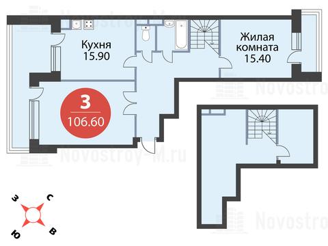 """3-комнатная квартира, 107 кв.м., в ЖК """"Сказка"""""""