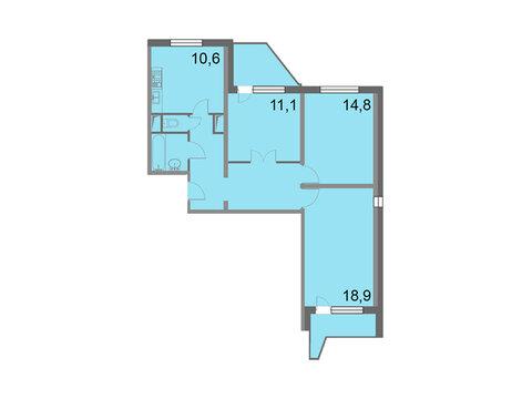 """Продается 3-к. квартира, 75,9 кв.м. в ЖК """"Кварталы 21/19"""""""