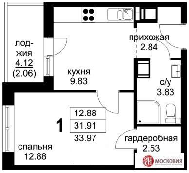 1 к кв 34м2, прописка Москва, 16 км от МКАД, Калужское или Киевское ш.