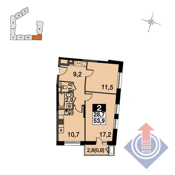 """2-комнатная квартира, 54 кв.м., в ЖК """"UP-квартал Скандинавский"""""""