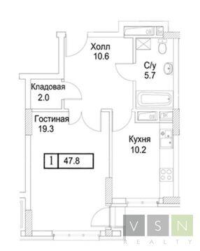 """1-комнатная квартира, 47 кв.м., в ЖК """"Лосиный Остров"""""""